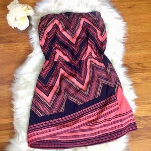 Express- Coral & Navy Strapless Dress Sz: S